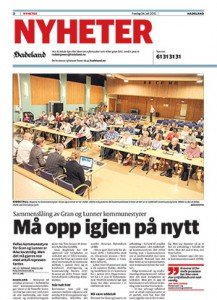 Oppslag i Avisa Hadeland den 24. juli 2015. Klikk på bildet for å lese artikkelen (åpner i ny fane).